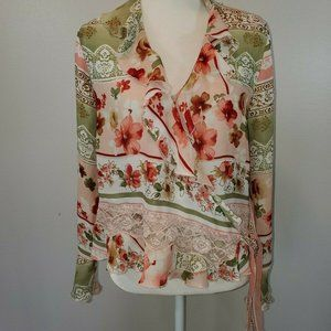 Allison Taylor Size Medium Wrap Blouse Floral
